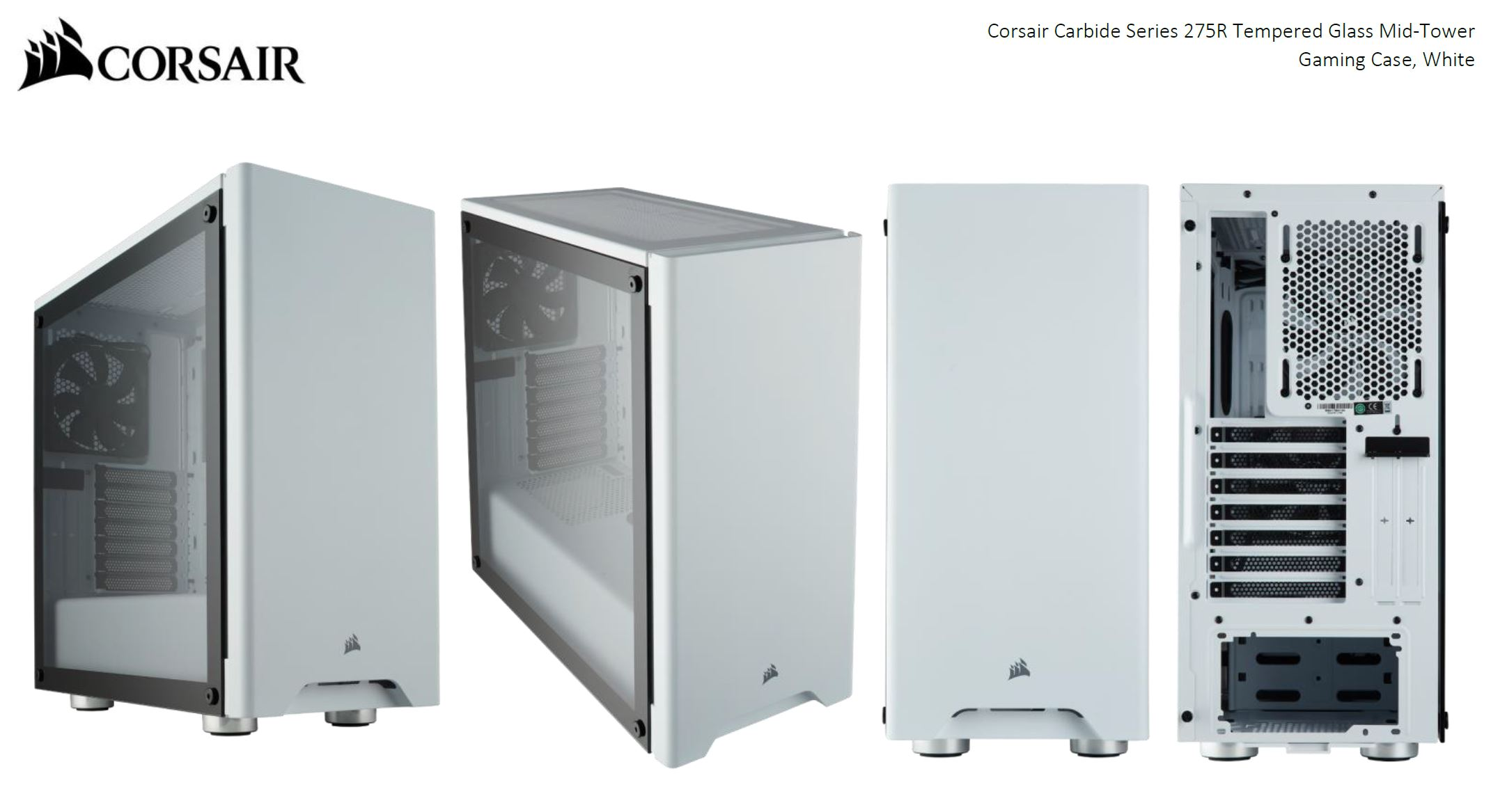 buy popular 6ce50 58709 Corsair Carbide 275R White Tempered Glass Solid ATX Mid-Tower Case.  CC-9011133-WW