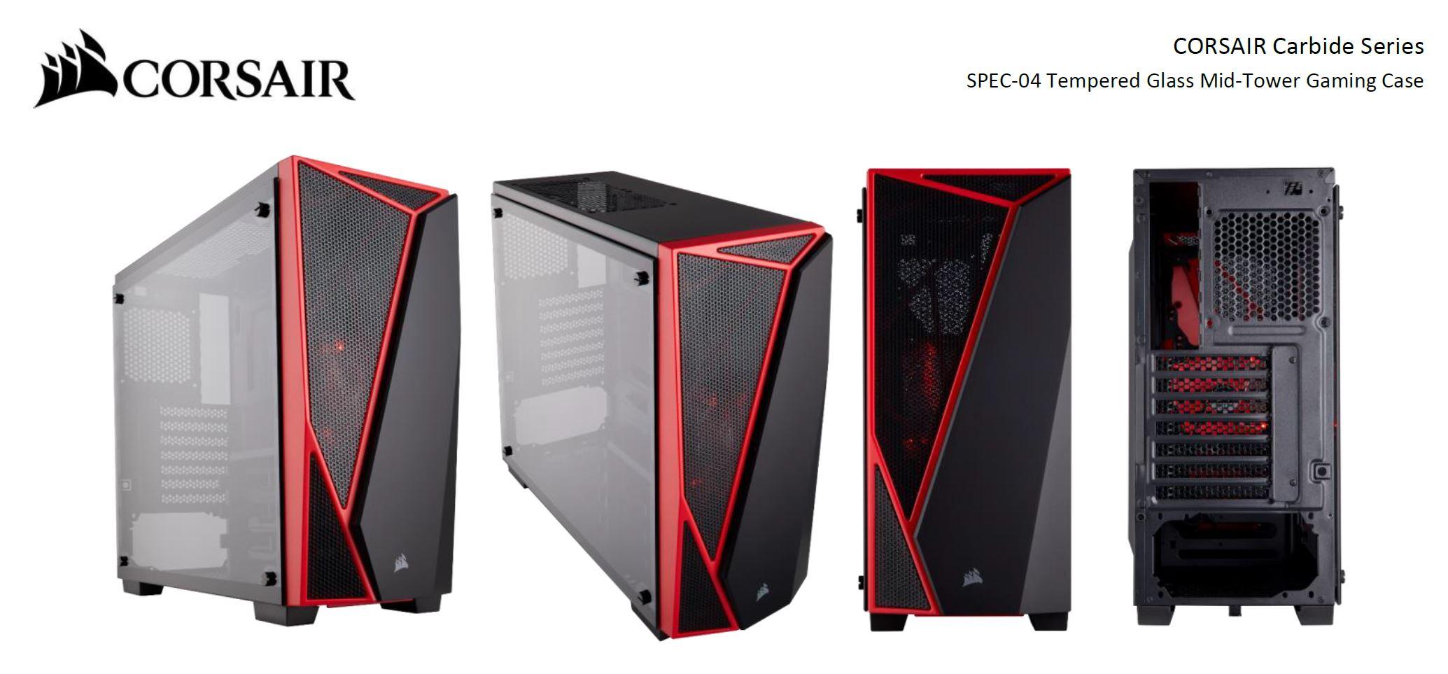 CORSAIR Carbide Series ATX Mid-Tower Case Black//Red