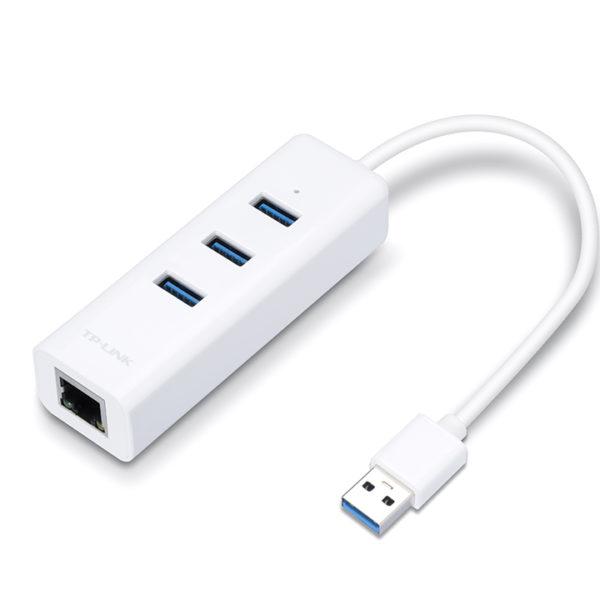TP-Link UE330 USB 3.0 3-Port Hub & RJ45 Gigabit LAN Ethernet Network ...