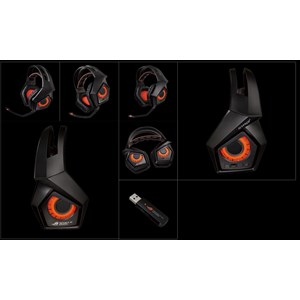 ASUS ROG STRIX WIRELESS 2 4GHz wireless gaming headset with 7 1 surround  sound, 10+ hour battery life, and multiplatform compatibility