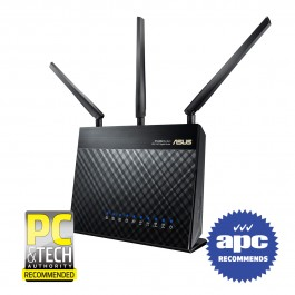 Asus RT-AC68U AC1900 Dual Band Gigabit WiFi Router, features with 3 x  High-performance Antennas, AiProtection network security powered by Trend  Micro,