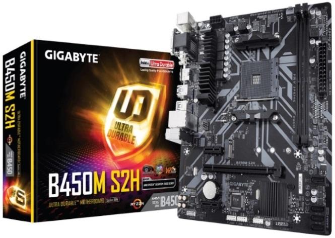 Gigabyte B450M S2H Ryzen AM4 mATX Motherboard GA-B450M-S2H 2xDDR4 3xPCIE  1xM 2 VGA DVI HDMI RAID GbE LAN 4xSATA 4xUSB3 1 6xUSB2 0 Quad CrossFire RGB