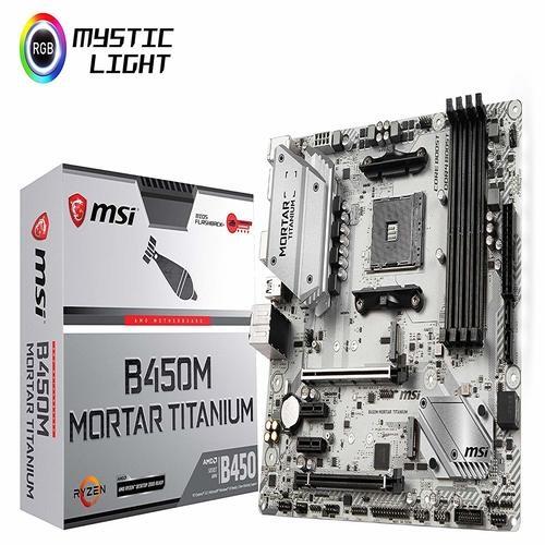 MSI B450M MORTAR TITANIUM AM4 Ryzen M-ATX Motherboard 4xDDR4 4xPCIE 2xM 2  DP HDMI GbE LAN 4xSATA3 1xUSB-C 7xUSB3 1