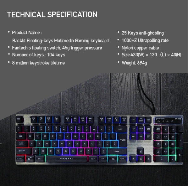 Fantech KX-302 Major wired gaming mouse and keyboard